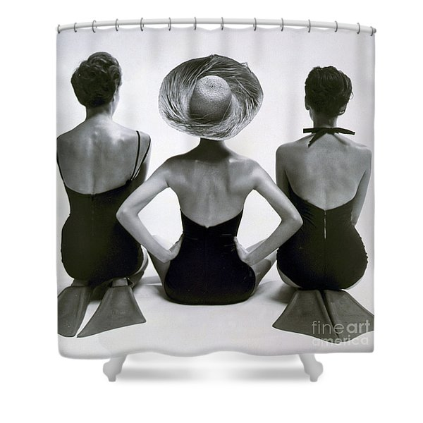 Fashion Models In Swim Suits, 1950 Shower Curtain