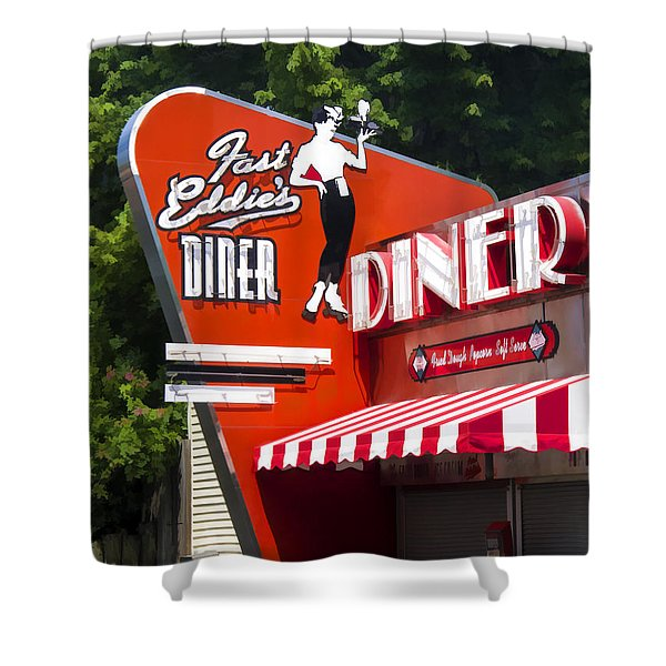 Fast Eddies Diner Art Deco Fifties Shower Curtain