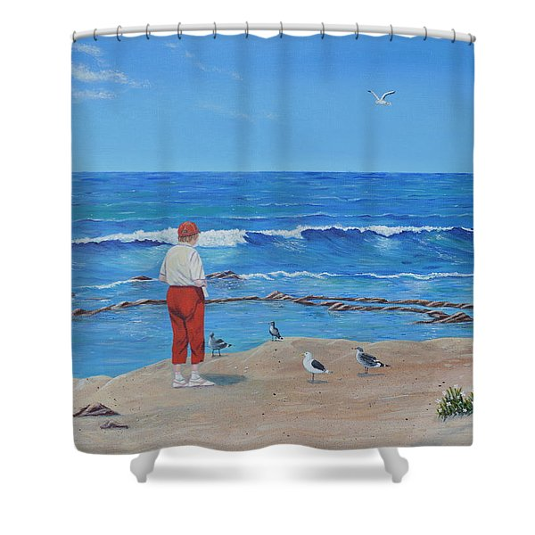 Shower Curtain featuring the painting Feeding The Birds by Mary Scott