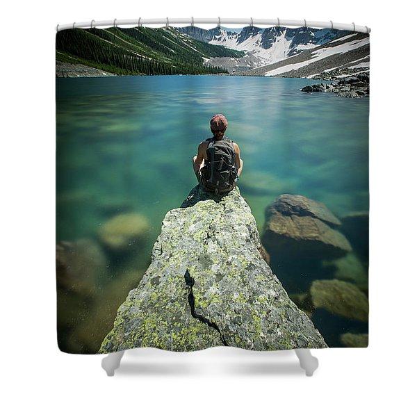 Female Hiker Sitting On Rock On Shore Shower Curtain