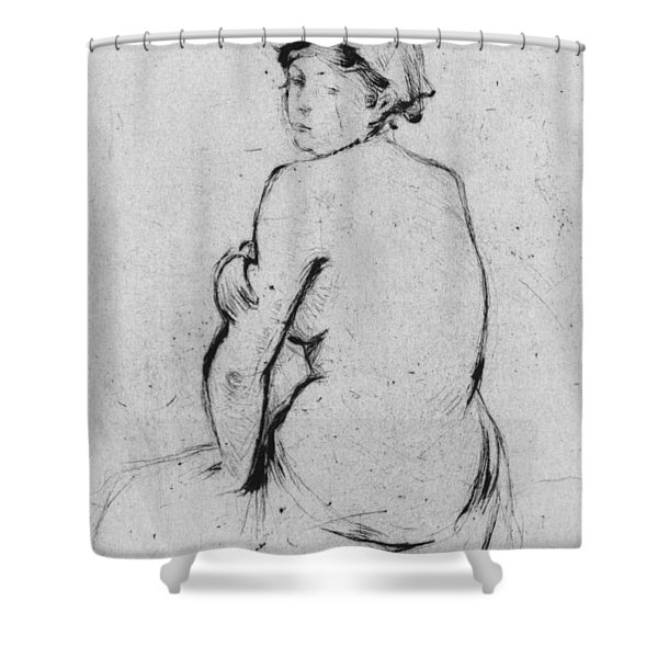 Female Nude Seen From Behind Shower Curtain