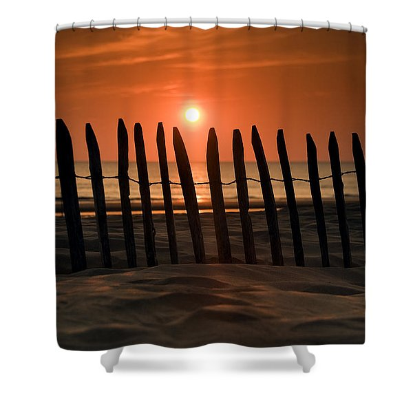 Fence At Sunset Shower Curtain