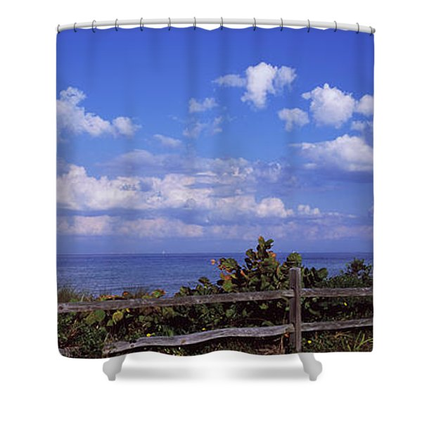 Fence On The Beach, Tampa Bay, Gulf Of Shower Curtain