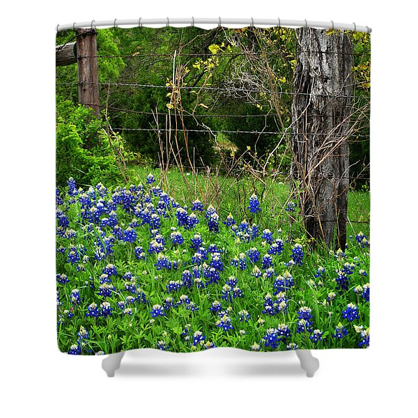 Fenced In Bluebonnets Shower Curtain