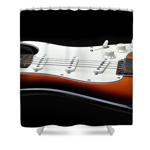 Fender Stratocaster Guitar On Black Background Shower Curtain