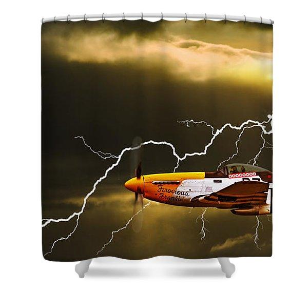 Ferocious Frankie In A Storm Shower Curtain