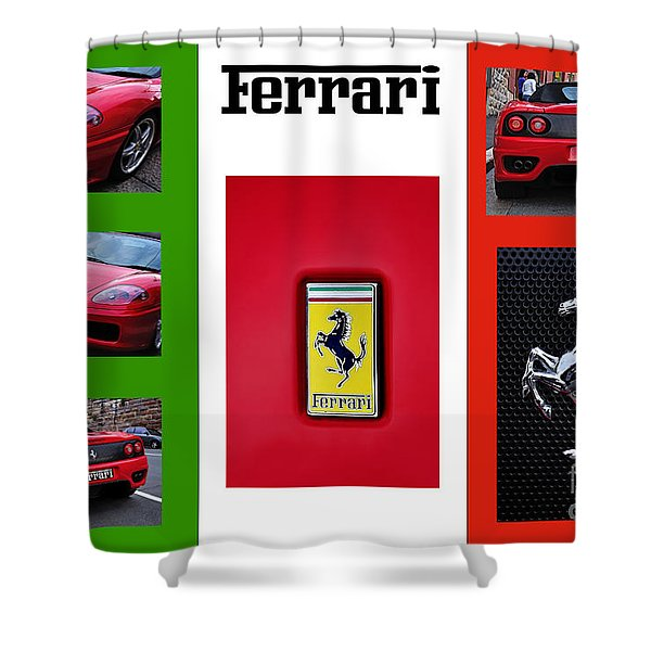 Ferrari Collage On Italian Flag Shower Curtain