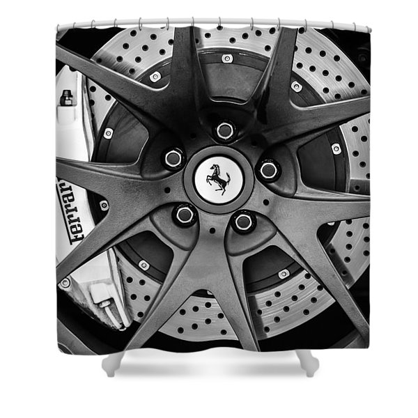 Ferrari Wheel Emblem - Brake Emblem -0430bw Shower Curtain