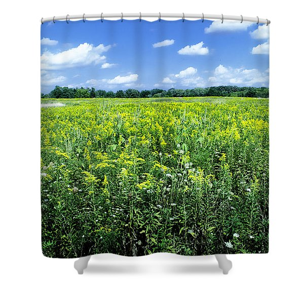 Field Of Flowers Sky Of Clouds Shower Curtain