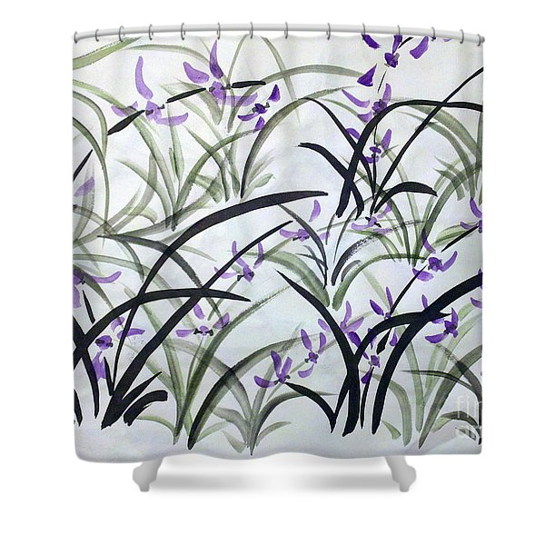Field Of Orchids Shower Curtain