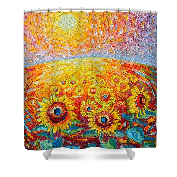 Fields Of Gold - Abstract Landscape With Sunflowers In Sunrise Shower Curtain