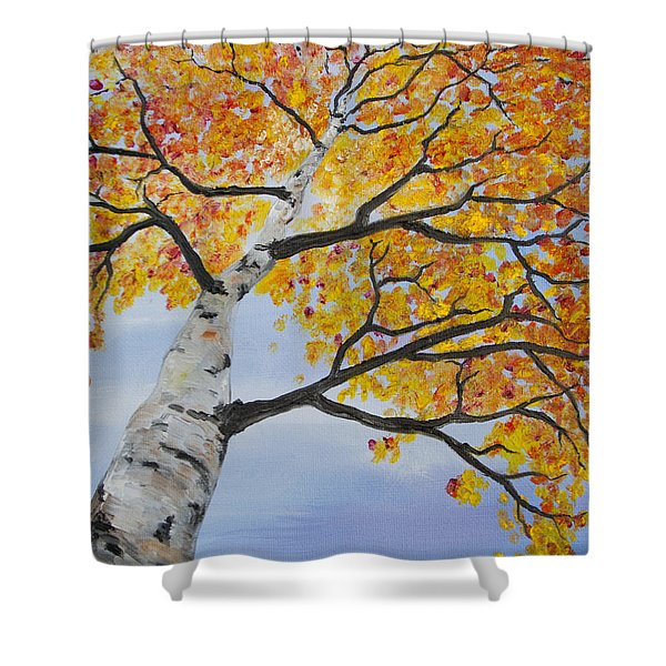 Fiery Aspen Shower Curtain