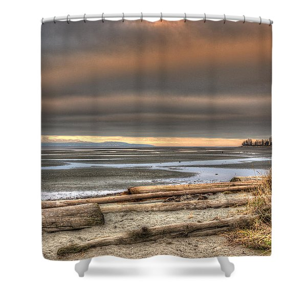 Shower Curtain featuring the photograph Fiery Sky Over The Salish Sea by Randy Hall