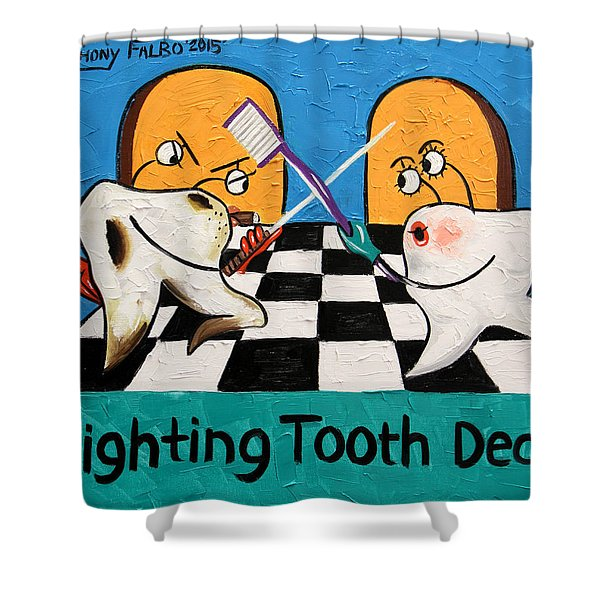 Shower Curtain featuring the painting Fighting Tooth Decay by Anthony Falbo