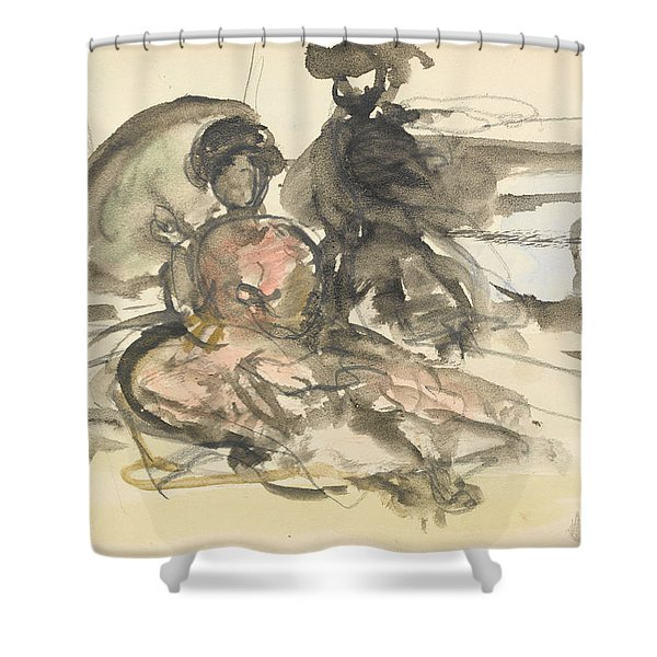 Figure Study Two Women Seated Shower Curtain
