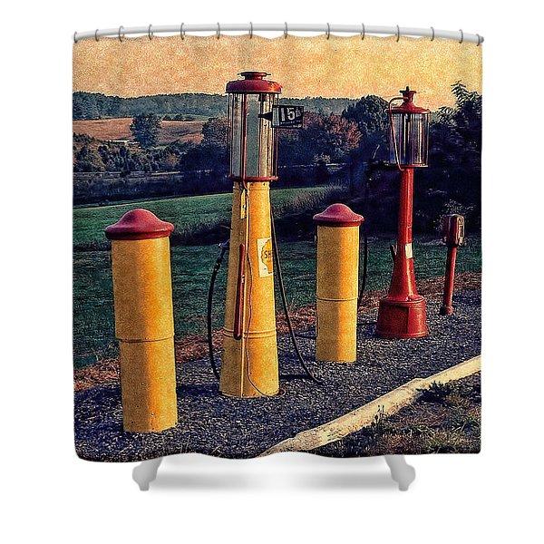 Fill 'er Up Vintage Fuel Gas Pumps Shower Curtain