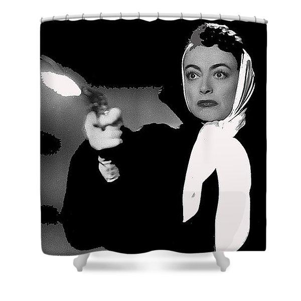 Film Noir Joan Crawford Jack Palance Sudden Fear 1952 Rko Publicity Photo Color Added 2012 Shower Curtain