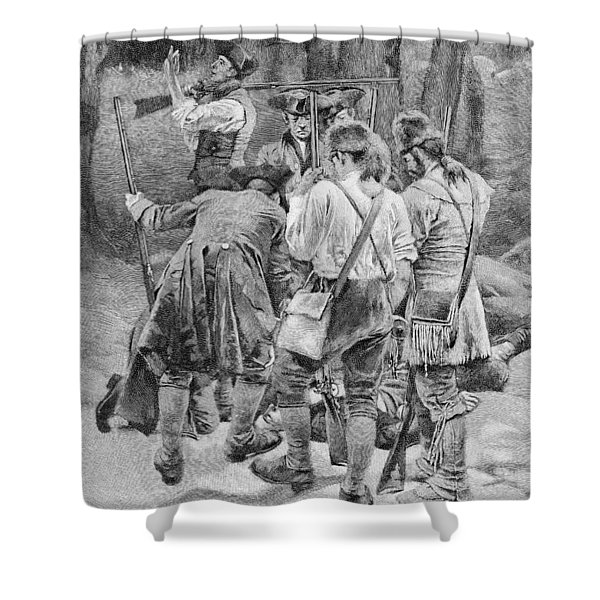 Finding The Body Of One Of Their Companions, Scalped And Horribly Mangled, Engraved By F.h Shower Curtain
