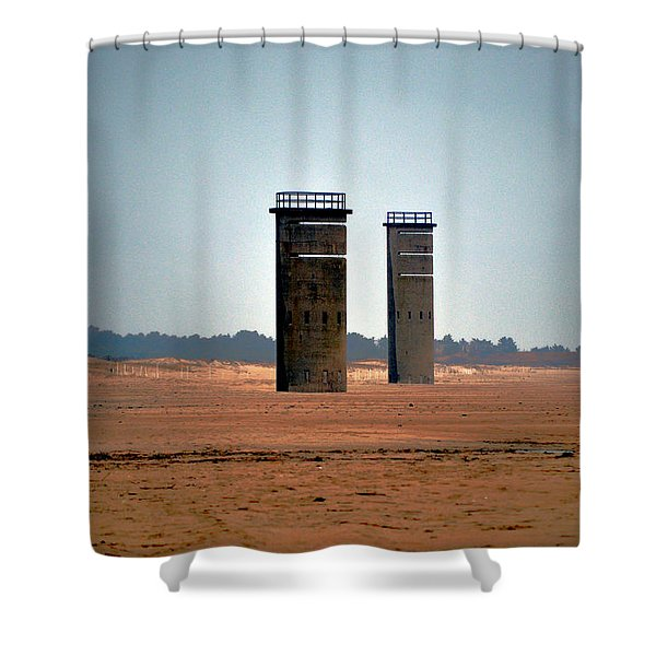 Fct5 And Fct6 Fire Control Towers On The Beach Shower Curtain