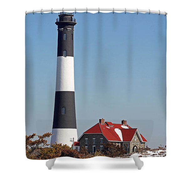Fire Island Snow Shower Curtain
