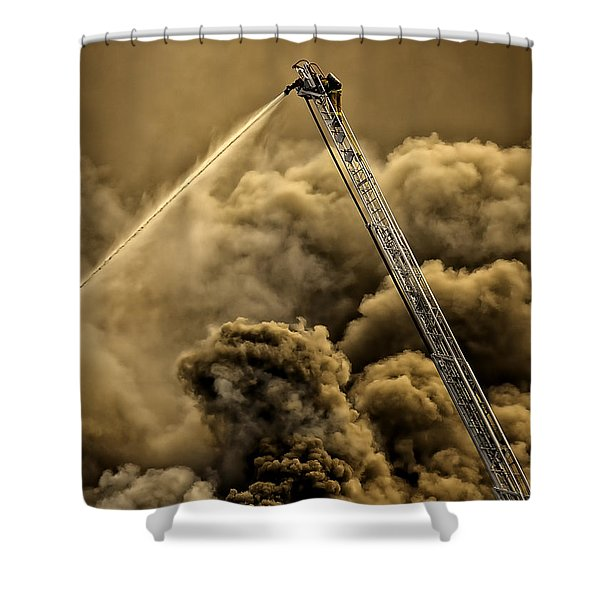 Shower Curtain featuring the photograph Firefighter-heat Of The Battle by David Millenheft