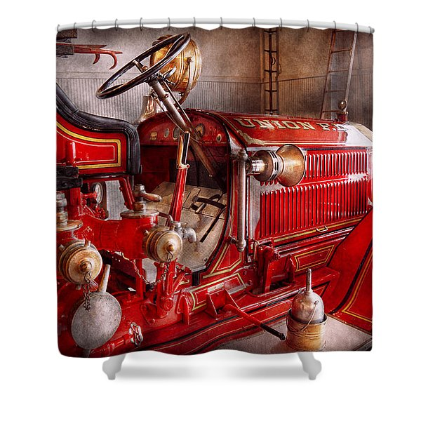 Fireman - Truck - Waiting For A Call Shower Curtain