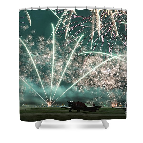 Fireworks And Aircraft Shower Curtain