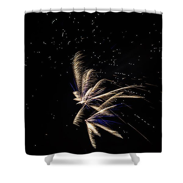 Shower Curtain featuring the photograph Fireworks - Dragonflies In The Stars by Scott Lyons