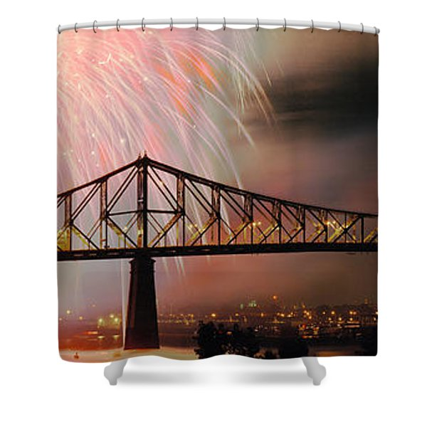 Fireworks Over The Jacques Cartier Shower Curtain