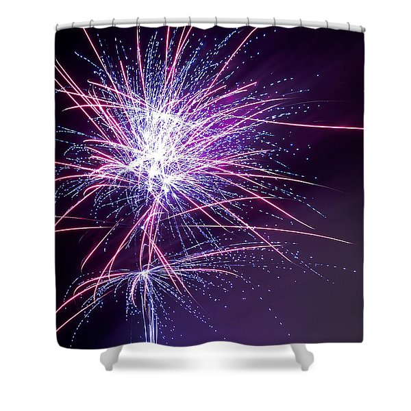 Shower Curtain featuring the photograph Fireworks - Purple Haze by Scott Lyons