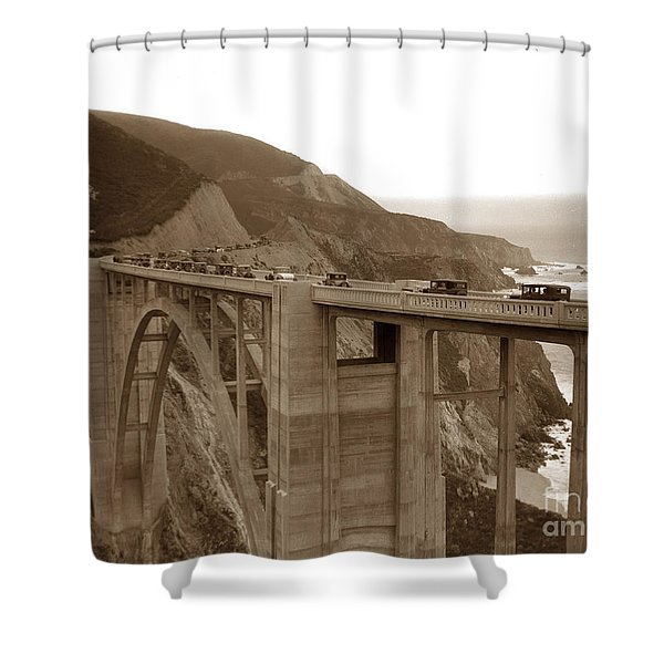 First Cars Across Bixby Creek  Bridge Big Sur California  Nov. 1932 Shower Curtain