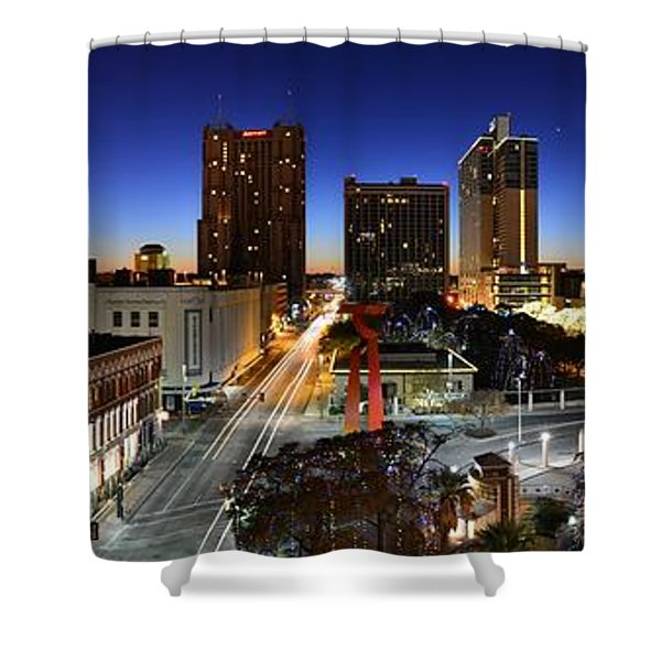 First Light On San Antonio Skyline - Texas Shower Curtain