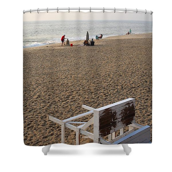 First On The Beach At Bethany Beach In Delaware Shower Curtain