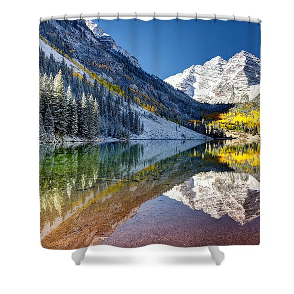 First Snow Maroon Bells Shower Curtain