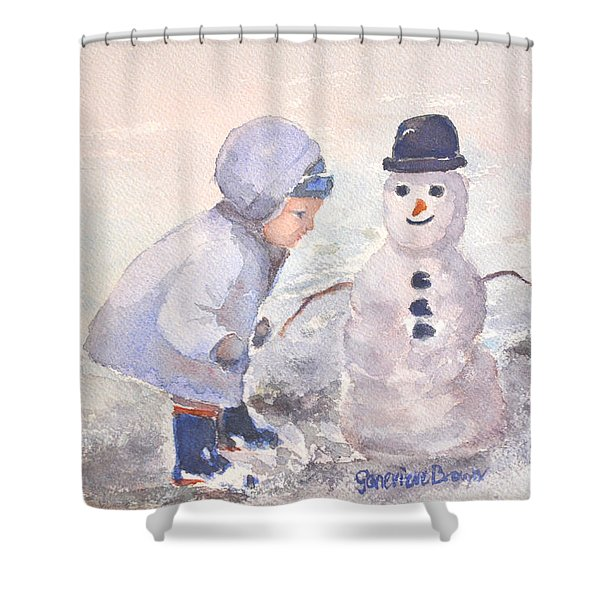 Shower Curtain featuring the painting First Snowman by Genevieve Brown