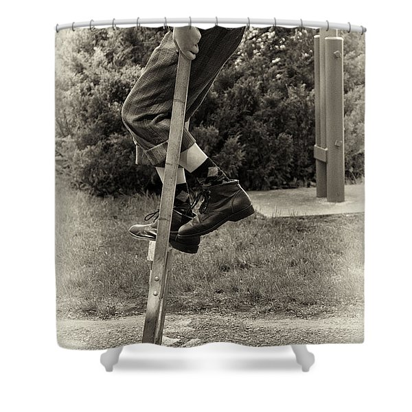 First Time On Stilts At White Pine Village In Ludington Michigan Shower Curtain