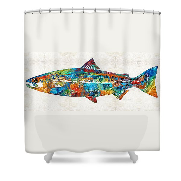 Fish Art Print - Colorful Salmon - By Sharon Cummings Shower Curtain