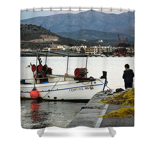 Fisherman And Son Shower Curtain