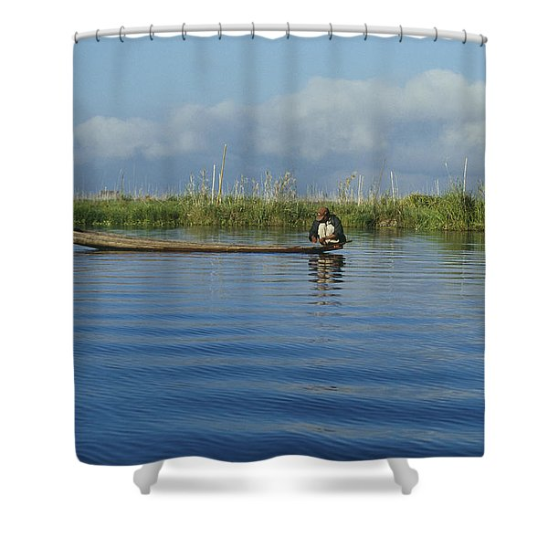 Fisherman On The Inle Lake Shower Curtain