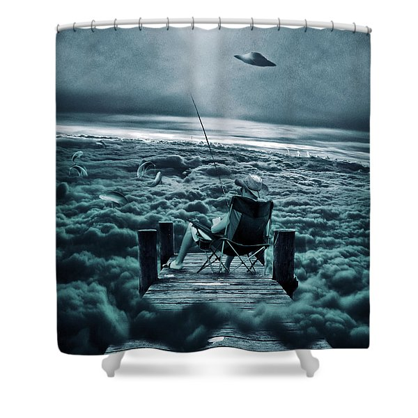 Fishing Above The Clouds Shower Curtain