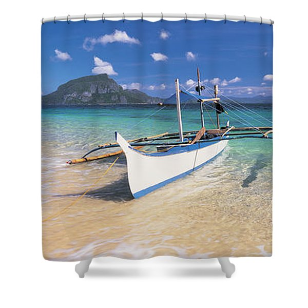 Fishing Boat Moored On The Beach Shower Curtain
