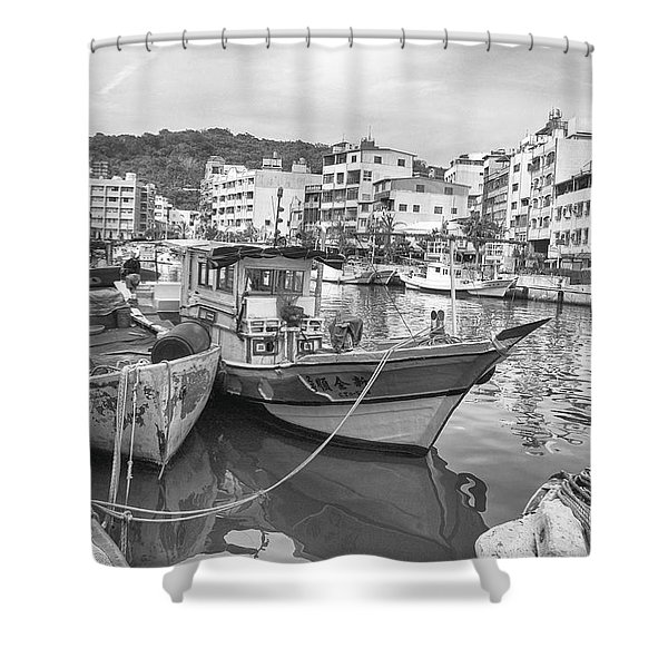 Fishing Boats B W Shower Curtain
