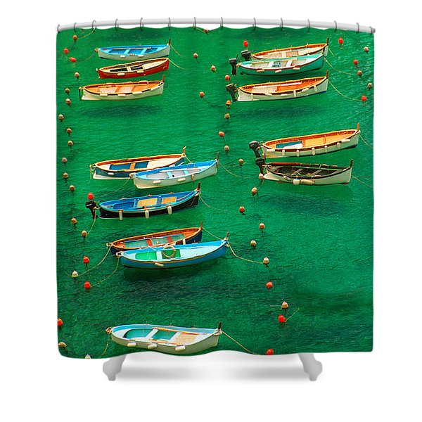 Fishing Boats In Vernazza Shower Curtain