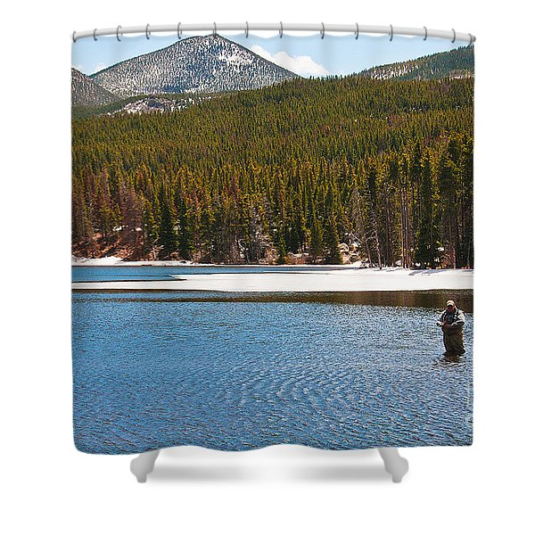 Shower Curtain featuring the photograph Fishing In Winter by Mae Wertz