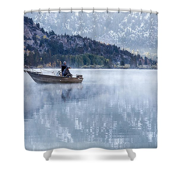 Fishing Into Silver Shower Curtain