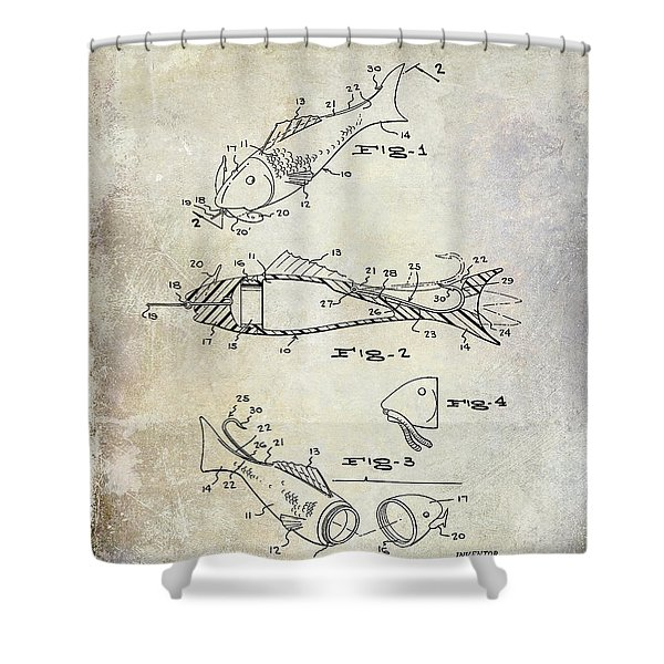 Fishing Lure Patent 1959 Shower Curtain