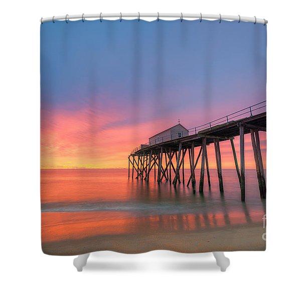 Fishing Pier Sunrise Shower Curtain