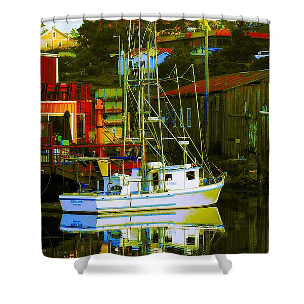 Fish'n Boat At Harbor Shower Curtain