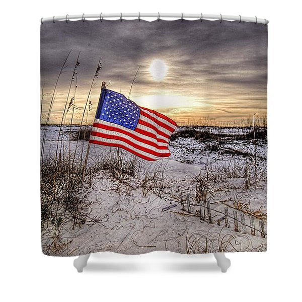 Flag On The Beach Shower Curtain