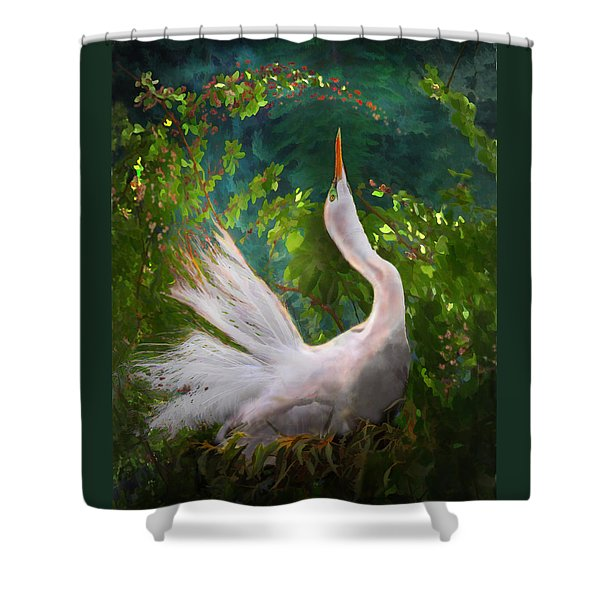 Shower Curtain featuring the photograph Flamboyant Egret by Melinda Hughes-Berland